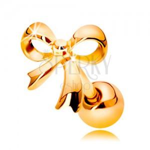 Piercing do ucha z żółtego 14K złota - lśniąca zawiązana kokarda
