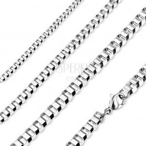 Łańcuszek ze stali 316L, lśniące kwadratowe oczka, srebrny kolor