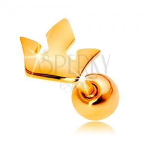 Piercing do ucha z żółtego 14K złota - mała trójdzielna korona