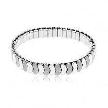 Stalowa bransoletka srebrnego koloru, rozciągliwa, błyszczące i matowe ogniwa