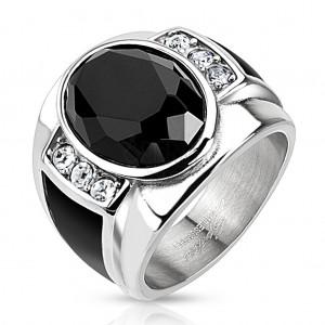 Stalowy pierścionek z czarnym oszlifowanym owalem, przezroczystymi cyrkoniami i czarnymi paskami