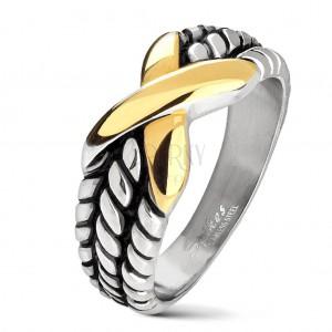 Stalowa obrączka srebrnego koloru, nacięcia na ramionach, X złotego koloru