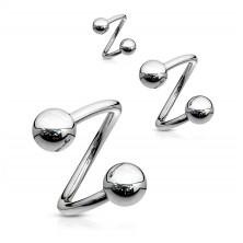 Stalowy piercing do brwi - spirala srebrnego koloru z kuleczką 1,6 mm