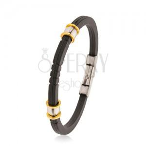 Czarna gumowa bransoletka z nacięciami, stalowe koraliki w kolorze srebrnym i złotym