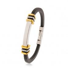 Gumowa bransoletka czarnego koloru, stalowa płytka, kwadraty złotego i srebrnego koloru
