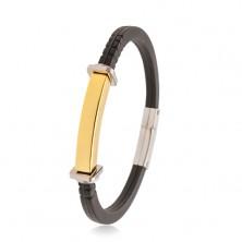 Czarna bransoletka z gumy, stalowa płytka złotego koloru, kwadraty i kółka po bokach