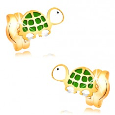 Kolczyki z żółtego złota 14K - mały zielono-biały żółw z czarnym okiem