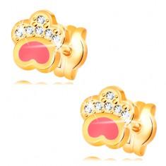 Kolczyki z żółtego 14K złota, psia łapka z różową emalią i cyrkoniami