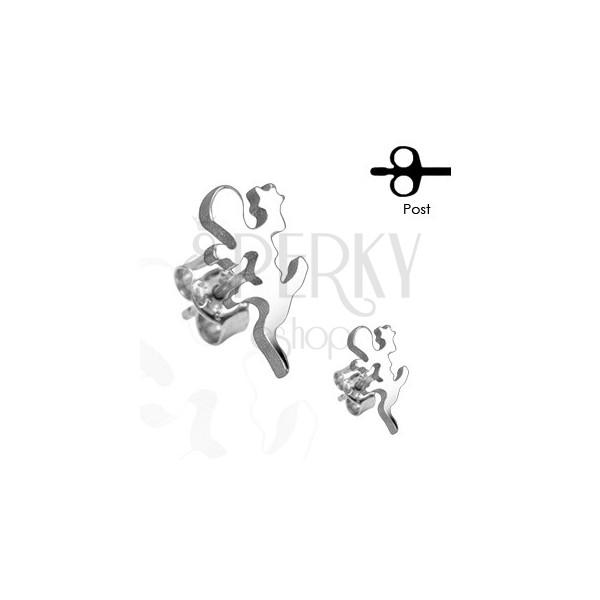 Kolczyki ze stali chirurgicznej - jaszczurka w srebrnym odcieniu, wkręty
