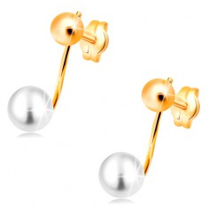 Kolczyki z żółtego 14K złota - błyszcząca kula i biała perła na pałeczce