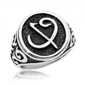 Pierścionek ze stali chirurgicznej - czarna pieczęć z symbolem, ornamenty na ramionach