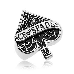 Masywny pierścionek ze stali 316L,  patynowany symbol asa pik, napis