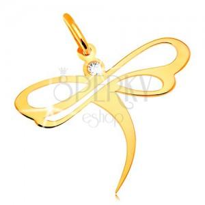 Zawieszka z żółtego 14K złota - ważka z osadzoną cyrkonią i wycięciami na skrzydłach