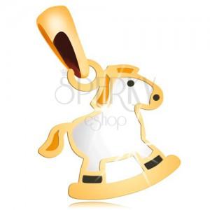 Zawieszka z żółtego 14K złota -  biały konik na biegunach z żółtą grzywą
