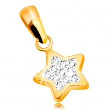 Zawieszka z żółtego złota 585 - błyszcząca pięcioramienna gwiazda, bezbarwne cyrkonie
