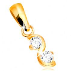 Złota zawieszka 585 - lśniąca gładkan fala, dwie bezbarwne błyszczące cyrkonie