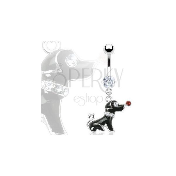 Piercing do pępka - czarny piesek z cyrkoniami