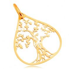Zawieszka z żółtego złota - krzaczaste drzewo w konturze dużej kropli