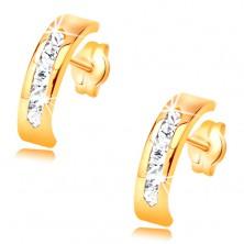 Kolczyki z żółtego 14K złota - łuk ozdobiony linią bezbarwnych cyrkonii