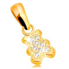 Zawieszka z żółtego złota 585 - mały miś ozdobiony bezbarwnymi cyrkoniami