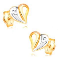 Brylantowe kolczyki z żółtego i białego 14K złota - serce z wycięciami i diamentem