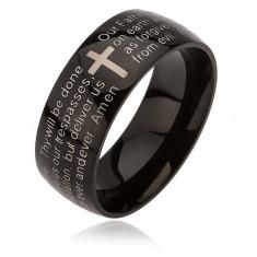 Czarny pierścionek ze stali chirurgicznej, krzyż srebrnego koloru, modlitwa Ojcze Nasz, 6 mm