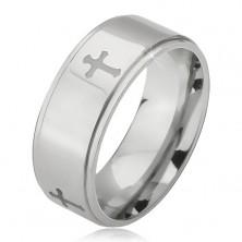 Stalowy pierścionek srebrnego koloru, grawerowane krzyże i obniżone krawędzie, 6 mm