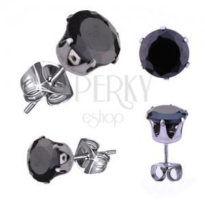 Stalowe kolczyki w srebrnym odcieniu, czarna okrągła cyrkonia, 5 mm