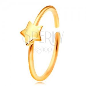 Złoty 14K piercing do nosa, lśniący krążek z gwiazdką, żółte złoto