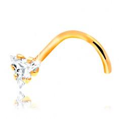 Zagięty piercing do nosa - żółte 14K złoto, bezbarwny cyrkoniowy trójkąt