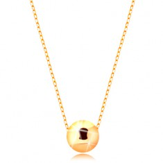 Złoty naszyjnik 585 - lśniąca kuleczka na cienkim błyszczącym łańcuszku