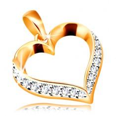 Złota zawieszka 585 - zarys symetrycznego serca ozdobiony bezbarwnymi cyrkoniami