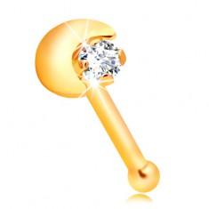 Prosty piercing do nosa z żółtego 14K złota, sierp księżyca, bezbarwna cyrkonia