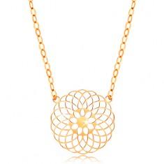 Naszyjnik z żółtego 14K złota - okrągły wycinany kwiat, błyszczący łańcuszek