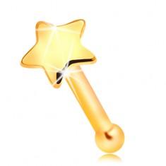 Złoty 585 piercing do nosa - mała lśniąca gwiazdka, prosty kształt