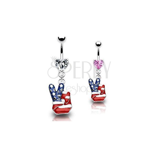 Piercing do pępka - amerykański znak pokoju