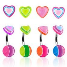 Piercing do pępka kolorowe serduszko