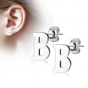 Stalowe kolczyki srebrnego koloru - duża litera B, wysoki połysk
