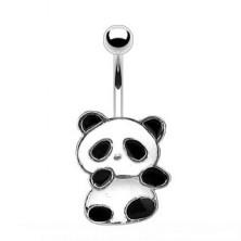 Stalowy piercing do pępka - panda z białą i czarną emalią