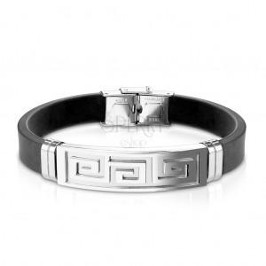 Bransoletka z czarnej gumy, stalowa płytka z greckim kluczem srebrnego koloru