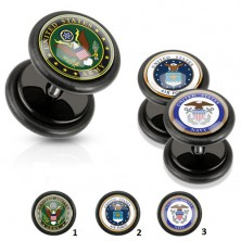 Akrylowy fałszywy plug czarnego koloru, wojskowy motyw, czarne gumki