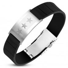 Czarna gumowa bransoletka ze stalową płytką srebrnego koloru, trzy gwiazdy