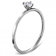 Zaręczynowy pierścionek ze stali 316L srebrnego koloru, okrągła bezbarwna cyrkonia