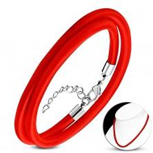 Czerwony naszyjnik owinięty błyszczącą nicią, regulowana długość, karabińczyk