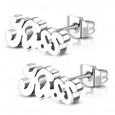 Kolczyki ze stali 316L srebrnego koloru, lśniący napis Kiss