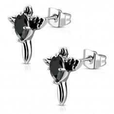 Stalowe kolczyki - patynowany krzyż z czarną cyrkonią i skrzydłami