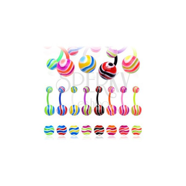 Piercing do pępka - kolorowe fale