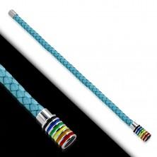 Jasnoniebieska pleciona bransoletka z syntetycznej skóry, walec z kolorowymi paskami