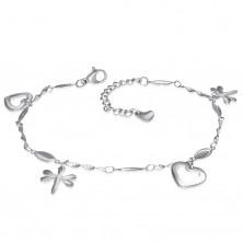 Stalowy łańcuszek srebrnego koloru na rękę lub nogę, zawieszki - serca i ważki