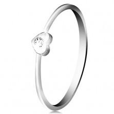 Diamentowy pierścionek z białego 14K złota - serce z bezbarwnym brylantem